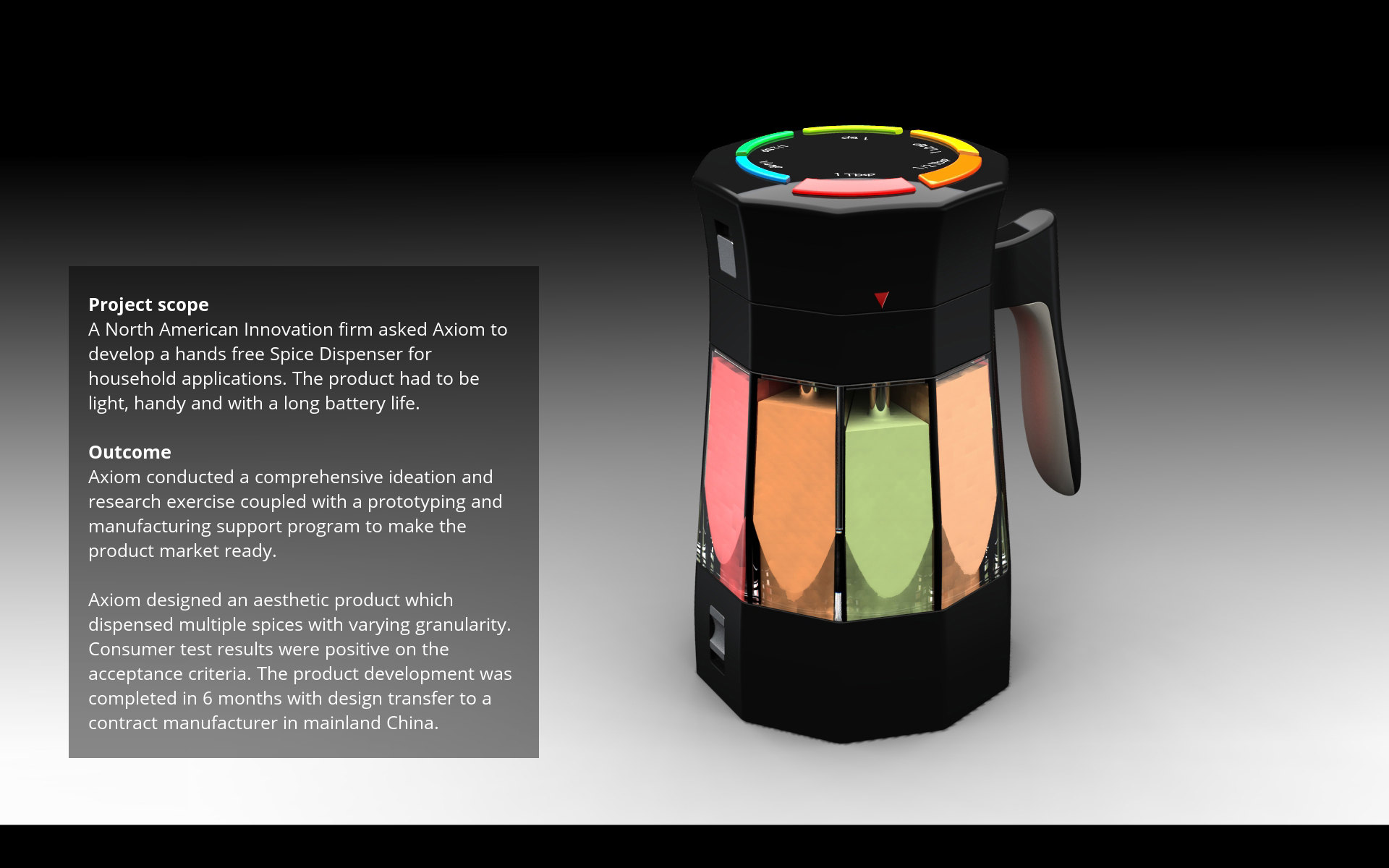 Axiom product design - Spice dispenser